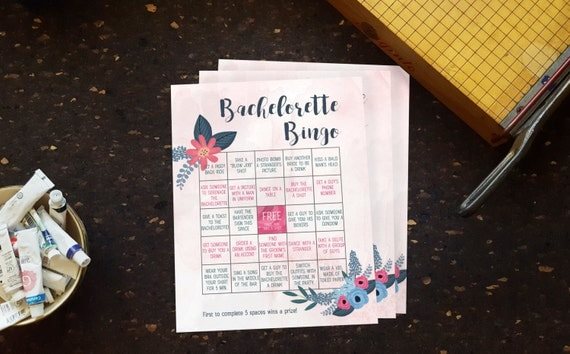Bachelorette Bingo Download. Bachelorette Party Game. Printable Party Game. Bachelorette Party. Pink and Blue. One last Fling. Bride to Be