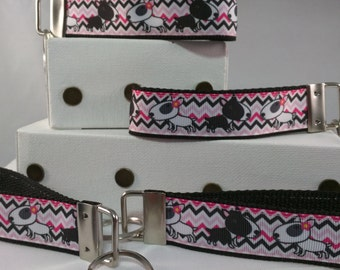 Dog Key Chain - Key Fob - Pink and black - FREE SHIPPING