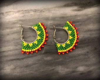 Green Yellow Red Orange Hoops | Seed bead Hoops | Chic | Summer wear | Boho
