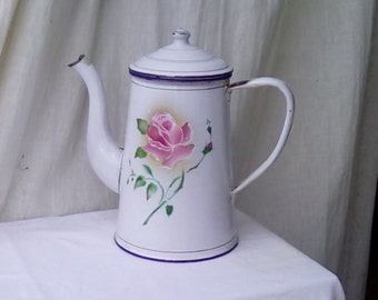 French enamelware coffee pot or jug, pretty rose design.