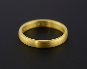 18ct Yellow Gold 3mm Wedding Band D Shape Half Round Handcrafted, Matte Finish, meiudm weight, Made To Order