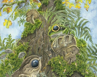 Perspective Watercolor Painting Giclee Canvas print, Maple Tree, Nature, frog, Children's art, snail, ferns, realism, detail