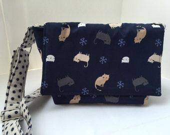 Shoulder bag cat Tote shoulder bag handbag blue