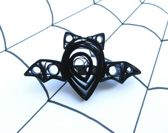 Halloween Jewellery, Quilled Brooch, Bat Brooch, Bat Jewellery, Quilled Jewellery, Pinup Brooch, Rockabilly Brooch, For Her, Quilled Bat