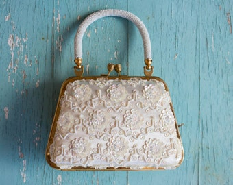 Vintage Sequined, Beaded, Evening Bag/Purse, Clutch, Lavish Glass beadwork, ca. 1960's,  White, Satin