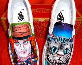 "Custom Vans hand-painted ""Mad Hatter"" - ""Alice in wonderland"""