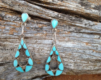 Long Vintage Zuni Dangle Earrings Handmade of Channel Set Turquoise Inlay in Silver With Shadowbox