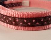 Lt Pink Medium Adjustable Collar w Pink Polka Dots on Brown, Pink Dog Collars, Gifts for Dog Lovers, Custom Dog Gifts