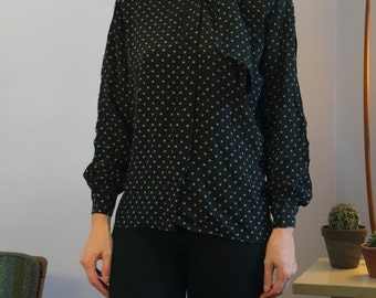 Vintage Black Floral 100% Silk Blouse Bow MOP Buttons British Hong Kong Sz Small