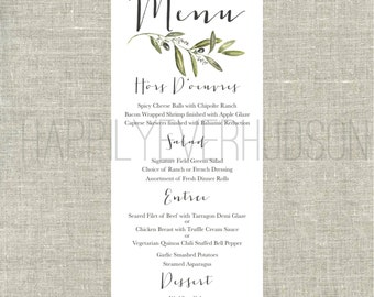 CUSTOM Printable Olive Branch Menu / DIY Menu