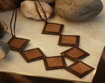 Statement leather jewelry, Bohemian leather, leather necklace, Geometric leather necklace, leather Brown
