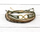 Waterproof Friendship Bracelet Set, 3-Pack, Waxed Cord Bracelet, Gold Infinity Charm, Stacking Boho Beach Bracelet, Adjustable Bracelet Pack