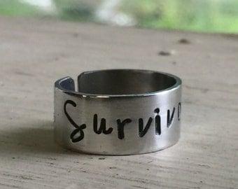 Cancer Survivor Gift - Silver - Survivor - Adjustable Ring