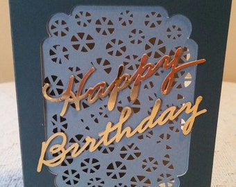 Happy Birthday - Gold lettering