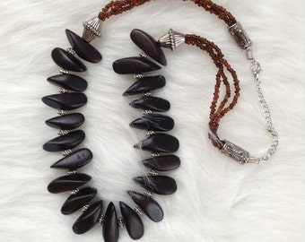Ebony Wood Petal Necklace with  brown Beads and Silver Bliss Beads