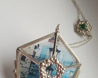 Gift for Her. Contemporary geometric pendant.  Sterlig silver changeable pendant with acrylic transferred picture of street.
