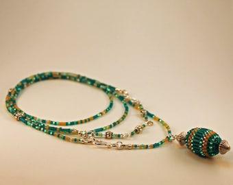 "Beaded Bead Convertible Necklace/Bracelet Set - ""Caribbean"""