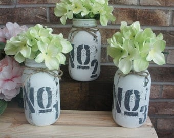 Hand Painted Numbered No. 1,2,3 Quart Sized Distressed Mason Jars