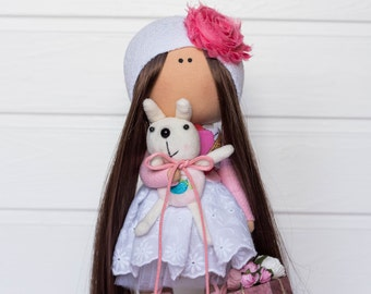 Handmade interior doll - Mary, a girl with a bunny. Textile fabric rag collectible doll, present, gift. Home decoration. UNIQUE item.