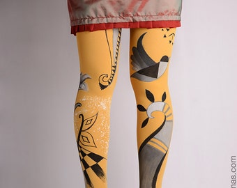 Hand-painted Tights, High Fashion, Stockings, Pantyhose, Unique Women Tights, Fashion Brand,Flower,Geometric, Geometrysm collection,Abstract