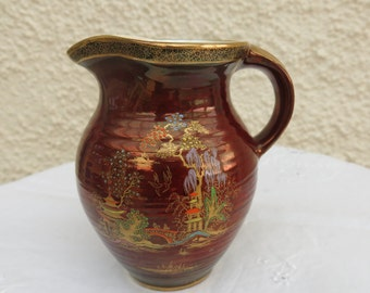 Vintage Crown Devon Ruby Red Lustre Jug - Oriental design