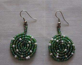 Iridescent Green Disc Shaped Beaded Earrings