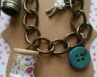 Vintage Inspired Sewing Charm Bracelet