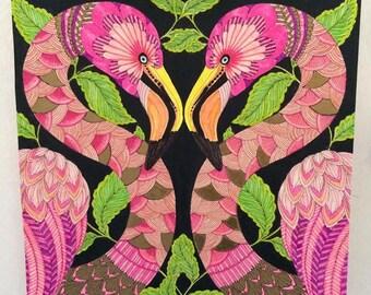 Pink & golden flamingos