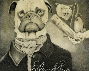 Pug Print, Edgar Allan Pug, Pug Pet Portrait