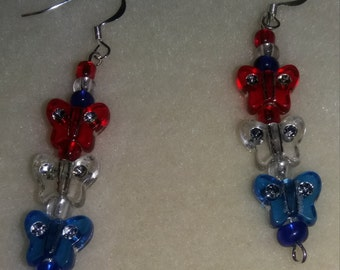 Earrings Red- clear- blue butterflies