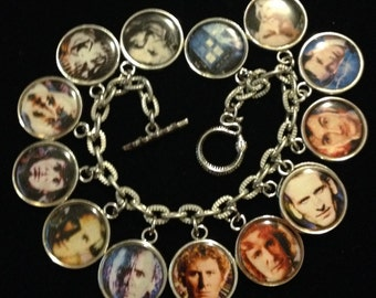 13 DOCTORS from Doctor Who charm bracelet