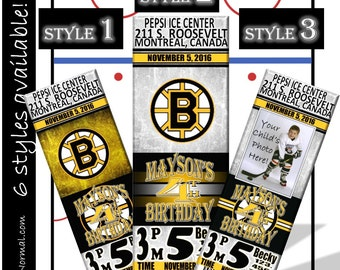 SALE! Boston Bruins Birthday Invitation Tickets - Hockey Birthday Invitations - Personalized and customized
