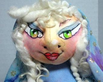 Yoga Cloth Art Doll OOAK, Kneeling Female Soft Sculpture, Fantasy Shelf Sitter, JDCreativeDolls