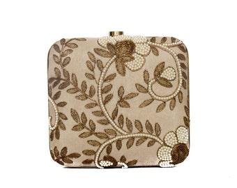 Beige Embroidered Box Clutch