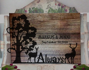 Rustic Wedding Guest Book, Harry Potter Guest Book Wood, Always Wedding Guest Book, Custom Wedding guest book, Wedding Guest Book Rustic