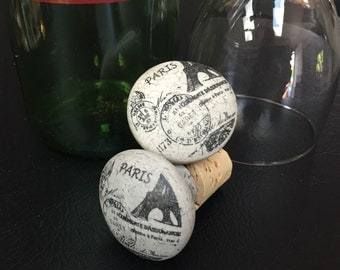 Repurposed Vintage Look Cabinet Knob Wine Bottle Stopper - PARIS Themed!