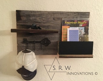 Fabulous Handmade Barn Wood Wall Organizer - Chalkboard - Chalkboard Orgainzier - Wall Decor - Key Holder - Home Decor - Mail Organizer