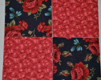 Red Roses on Navy 4 inch quilt squares