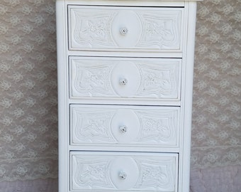 Vintage, French Provincial, Shabby and Chic, Hand Painted, White, Lingerie Chest, Furniture, Skinny Dresser.
