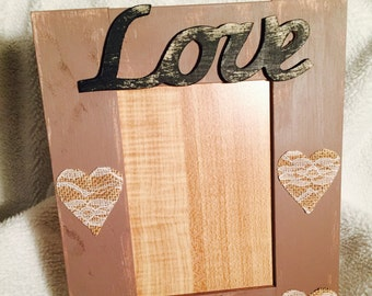 Rustic Love Picture Frame 5x7-Love Photo Frame-Distressed Picture Frame-Love Picture Frame
