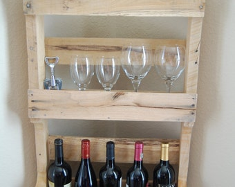 Wine Rack / Rustic Shelf / Organizer made from reclaimed wood - kitchen, bedroom, office, bath, upcycled, recycled, storage, home organizer