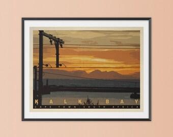Kalk Bay Sunrise, Cape Town. South Africa Art Print. Vintage Style. Travel Poster. Sunrise Travel Poster