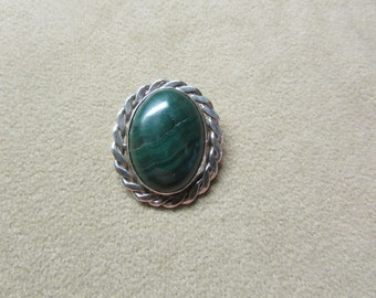Incredible Malachite large STERLING SILVER pin/pendant