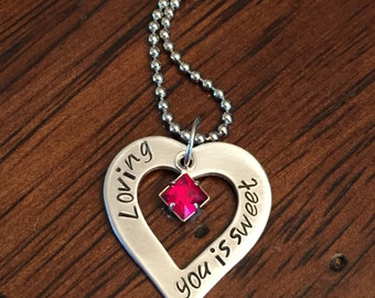 """Sweet heart necklace, hand stamped personalized necklace, Swarovski crystal necklace, """"Loving you is sweet"""" necklace, anniversary gift"""