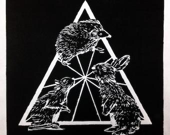 Animal Triangle Woodcut Art Print