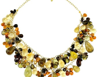 Fall Foliage Citrine, Tourmaline and Hessonite Necklace