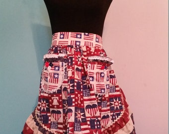 Fun Patriotic  Half Apron