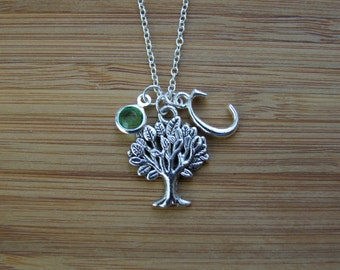 Tree Necklace, Nature Lover Necklace, Personalized Initial Birthstone Necklace