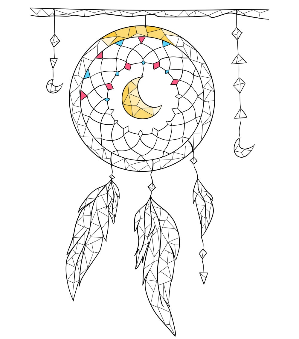 coloring page boho coloring page dreamcatcher