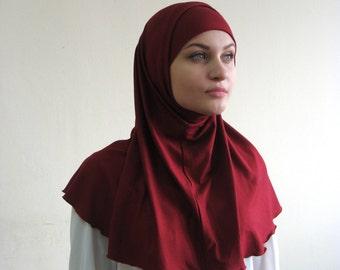 Hijab Two Piece,Al Amira style,Maroon Hijab, Scarf handmade, Cotton hijab, prayer scarf, Muslim, islamic scarf, eid gift ideas, Muslim lady